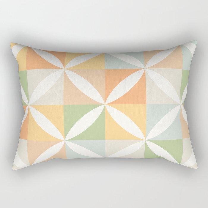 Vintage Geometric Pattern - Warm 70s Pastel Rectangular Pillow