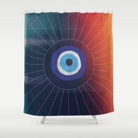 evil Shower Curtains featuring Evil Eye by DuckyB