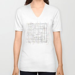 Colorful abstract geometric pattern with color dots Unisex V-Neck