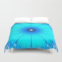 turquoise Duvet Covers featuring TURQUOISE Flower by WhimsyRomance&Fun
