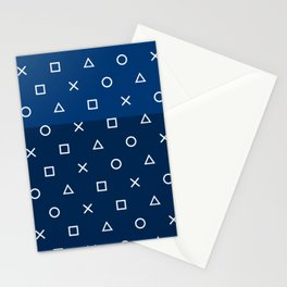 Playstation Controller Pattern - Navy Blue Stationery Cards