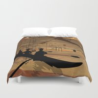 rowing Duvet Covers featuring Rowing by Robin Curtiss