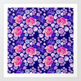 Rosaful rose pattern # Navy Art Print