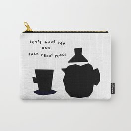 Let's Have Tea And Talk About Peace no.8 - black and white illustration Carry-All Pouch