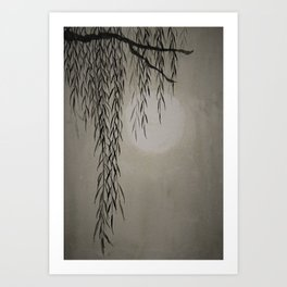 Willow in the moonlight Art Print