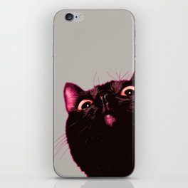 Curious cat, Black cat, Pop Art cat. iPhone Skin