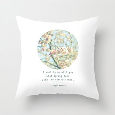 What the spring does to cherry trees Throw Pillow