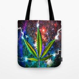 Weed Leaf in Space Tote Bag