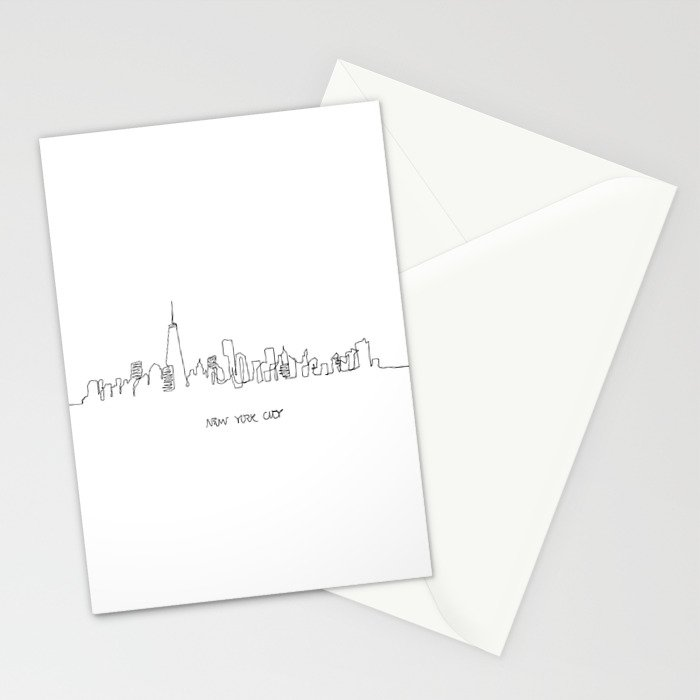 New York City Skyline Drawing Stationery Cards