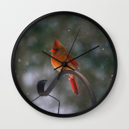 Cardinal in the Snow Wall Clock
