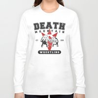 wrestling Long Sleeve T-shirts featuring Death Mountain Wrestling by Nick Overman