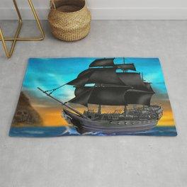 Pirate Ship at Sunset Rug