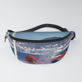Hovercraft Racing to Town Fanny Pack