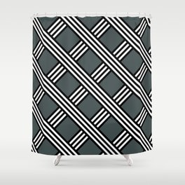 PPG Night Watch, Black & White Diagonal Stripes Lattice Pattern Shower Curtain