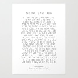 The Man In The Arena by Theodore Roosevelt 2 #minimalism Art Print