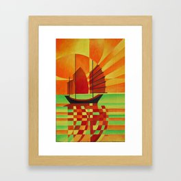 Junk on Sea of Green Cubist Abstract  Framed Art Print