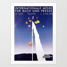 retro poster genf international messe fur buch und presse palexpo 1991 geneva Art Print