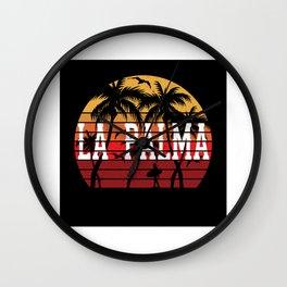 La Palma Palm Tree Holiday Motif Gift Idea Design Wall Clock