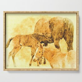 Mare and Foals Monochromatic Art Serving Tray