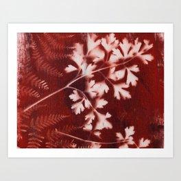 Brown Printed Leaves Art Print