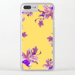 ORIENTAL STYLE PURPLE-YELLOW FLOWERS Clear iPhone Case