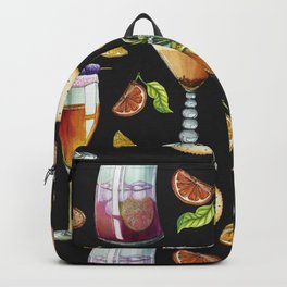 Cocktail and Biscuit Pattern Black Background Backpack