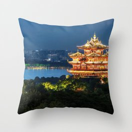 Buddhist temple riverside, China Throw Pillow