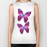 hot pink Biker Tanks featuring The hot pink Butterfly by thea walstra
