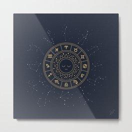 Zodiac Signs Wheel Metal Print