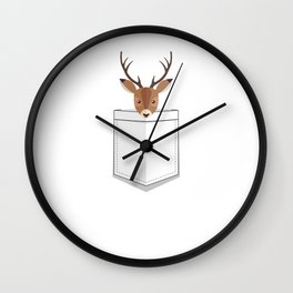 Cute Animal Pocket Stag Wall Clock