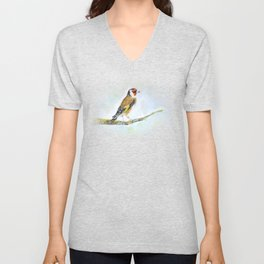 European goldfinch on tree branch Unisex V-Neck
