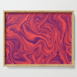 Neon Living Coral - color of year 2019, Ultra Violet Marble Abstract Gradient Pattern Serving Tray