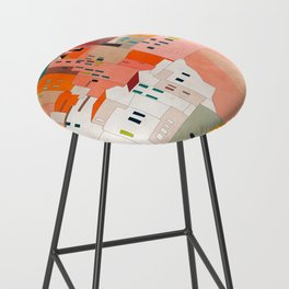italy coast houses minimal abstract painting Bar Stool