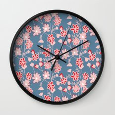 Red-Pink Flower Pattern Wall Clock