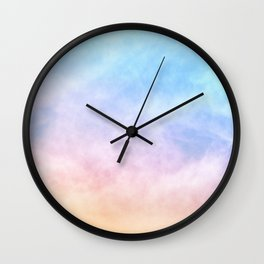 Pastel Rainbow Watercolor Clouds Wall Clock