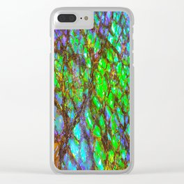 Peacock Ammolite Clear iPhone Case