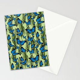 Blue Butterfly Monarchy With Vines Stationery Cards