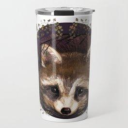 Raccoon in Forest Wreath Travel Mug