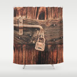Rustic Old Wooden Door and Lock Shower Curtain