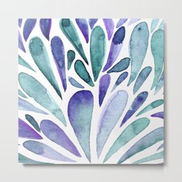 Watercolor artistic drops - purple and turquoise Metal Print