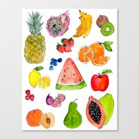 fruits Canvas Prints featuring FRUITS by Shannon Kirsten