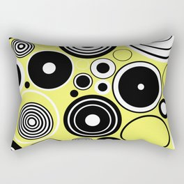 Geometric Rings On Pastel Yellow - Black and white abstract Rectangular Pillow
