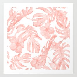 Tropical Palm Leaves Hibiscus Flowers Coral Pink Art Print