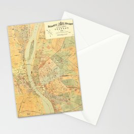 Map Of Budapest 1884 Stationery Cards