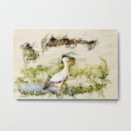 Stork in Pond Watercolor Metal Print