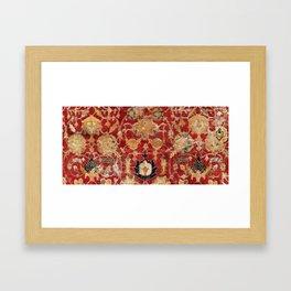 Indo Esfahan Central Persian Rug Fragment Print Framed Art Print