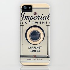 Retro Film Camera on Beige - Cream Pattern Background  iPhone (5, 5s) Slim Case
