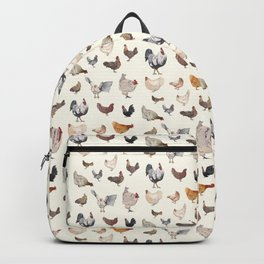 Chicken Happy on Cream Background Backpack