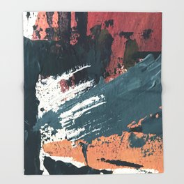 Thrive: a colorful, vibrant, abstract mixed media print in blues, red, orange, and white Throw Blanket