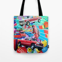 cars Tote Bags featuring Cars by John Turck